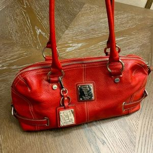 Tignanallo red leather satchel w/silver hardware